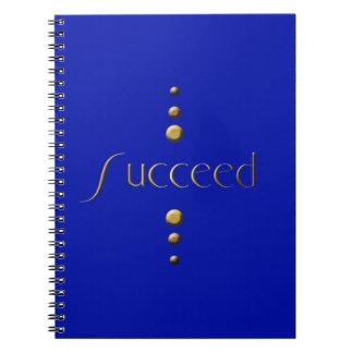 3 Dot Gold Block Succeed & Blue Background Spiral Notebook