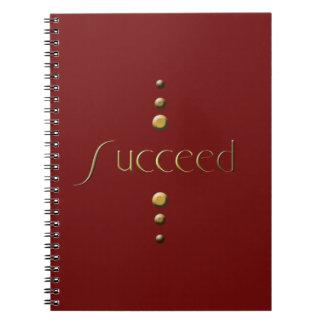 3 Dot Gold Block Succeed & Burgundy Background Notebook