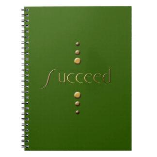 3 Dot Gold Block Succeed & Green Background Spiral Notebook