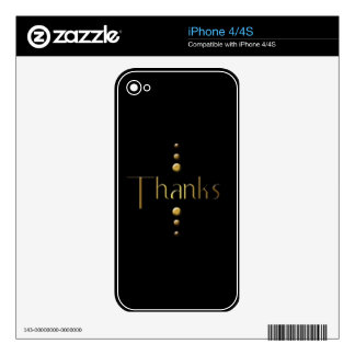 3 Dot Gold Block Thanks & Black Background Decal For iPhone 4S