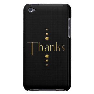 3 Dot Gold Block Thanks & Black Background iPod Case-Mate Case