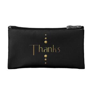 3 Dot Gold Block Thanks & Black Background Makeup Bag