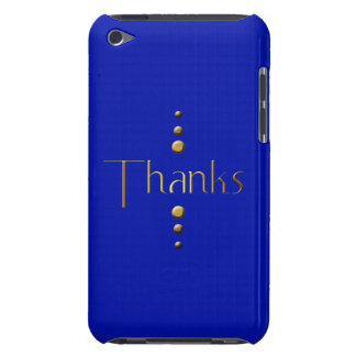 3 Dot Gold Block Thanks & Blue Background Barely There iPod Case