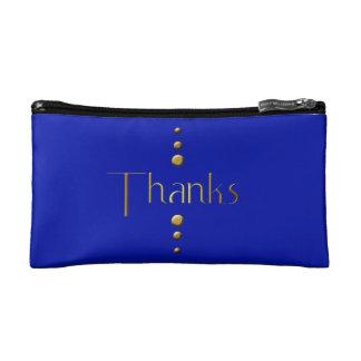 3 Dot Gold Block Thanks & Blue Background Makeup Bag