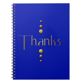 3 Dot Gold Block Thanks & Blue Background Spiral Notebook