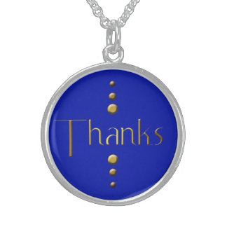 3 Dot Gold Block Thanks & Blue Background Sterling Silver Necklace