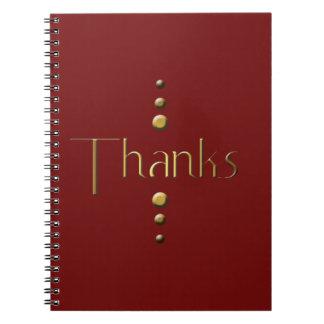 3 Dot Gold Block Thanks & Burgundy Background Notebook