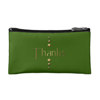 3 Dot Gold Block Thanks & Green Background Cosmetic Bag
