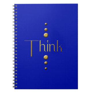 3 Dot Gold Block Think & Blue Background Spiral Notebook
