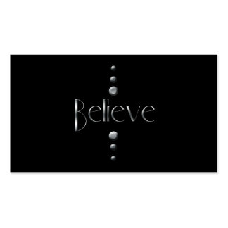 3 Dot Silver Block Believe & Black Background Double-Sided Standard Business Cards (Pack Of 100)