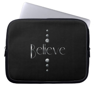 3 Dot Silver Block Believe & Black Background Laptop Sleeve