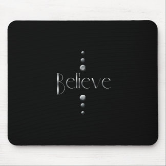 3 Dot Silver Block Believe & Black Background Mouse Pad