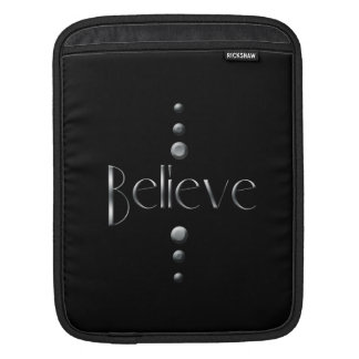 3 Dot Silver Block Believe & Black Background Sleeves For iPads