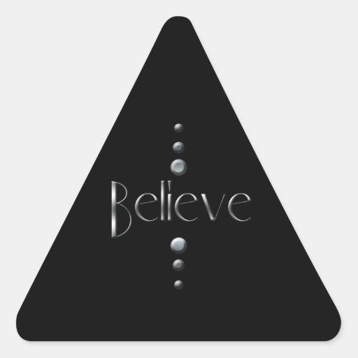3 Dot Silver Block Believe & Black Background Stickers