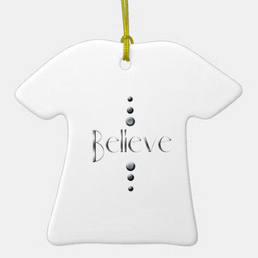 3 Dot Silver Block Believe Ceramic Ornament
