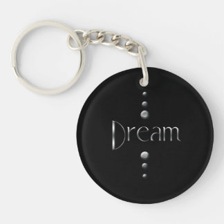 3 Dot Silver Block Dream & Black Background Keychain