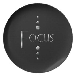 3 Dot Silver Block Focus & Black Background Melamine Plate