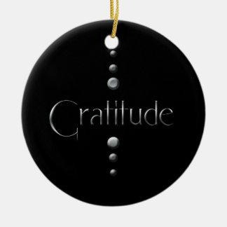 3 Dot Silver Block Gratitude & Black Background Ceramic Ornament