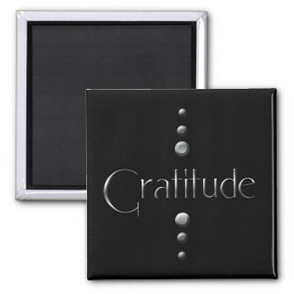 3 Dot Silver Block Gratitude & Black Background Magnet