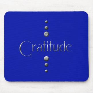 3 Dot Silver Block Gratitude & Blue Background Mouse Pad