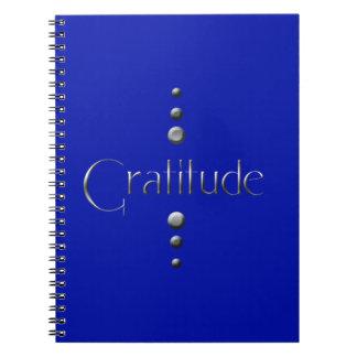 3 Dot Silver Block Gratitude & Blue Background Spiral Notebook