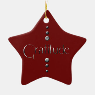 3 Dot Silver Block Gratitude & Burgundy Background Ceramic Ornament