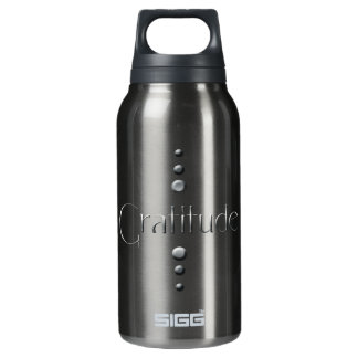 3 Dot Silver Block Gratitude & Burgundy Background Insulated Water Bottle