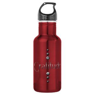 3 Dot Silver Block Gratitude & Burgundy Background Stainless Steel Water Bottle