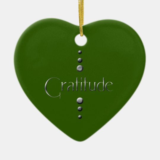 3 Dot Silver Block Gratitude & Green Background Ceramic Ornament