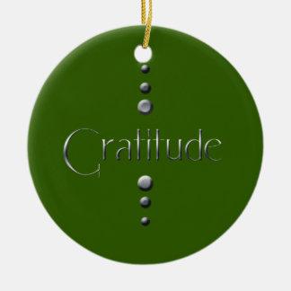 3 Dot Silver Block Gratitude & Green Background Ceramic Ornament