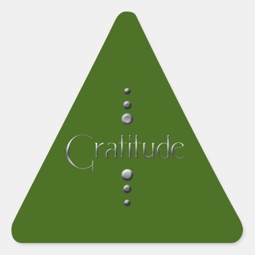 3 Dot Silver Block Gratitude & Green Background Triangle Stickers
