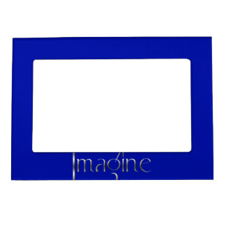 3 Dot Silver Block Imagine & Blue Background Magnetic Picture Frame
