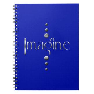 3 Dot Silver Block Imagine & Blue Background Spiral Notebook