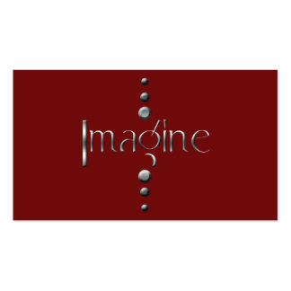 3 Dot Silver Block Imagine & Burgundy Background Double-Sided Standard Business Cards (Pack Of 100)