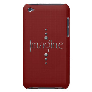 3 Dot Silver Block Imagine & Burgundy Background iPod Touch Case-Mate Case