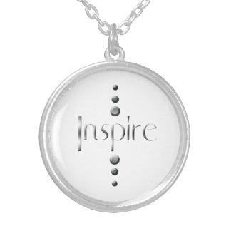 3 Dot Silver Block Inspire Round Pendant Necklace