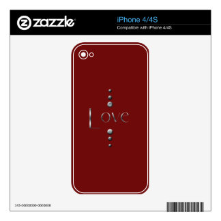 3 Dot Silver Block Love & Burgundy Background iPhone 4S Decal