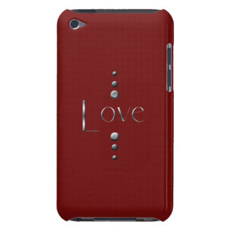 3 Dot Silver Block Love & Burgundy Background iPod Touch Case