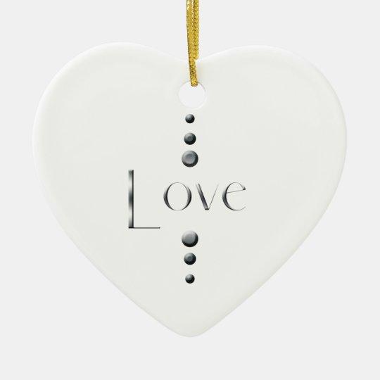 3 Dot Silver Block Love Ceramic Ornament