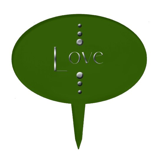 3 Dot Silver Block Love & Green Background Cake Topper