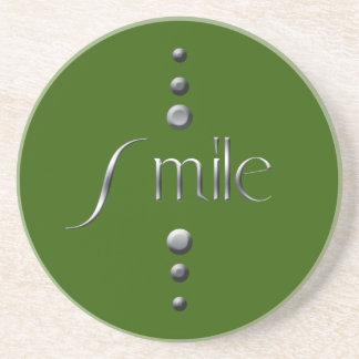 3 Dot Silver Block Smile & Green Background Coaster