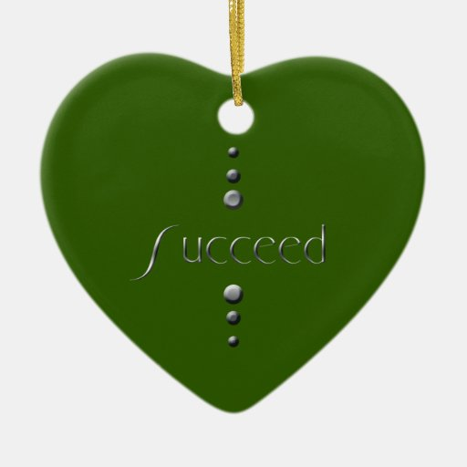 3 Dot Silver Block Succeed & Green Background Double-Sided Heart Ceramic Christmas Ornament