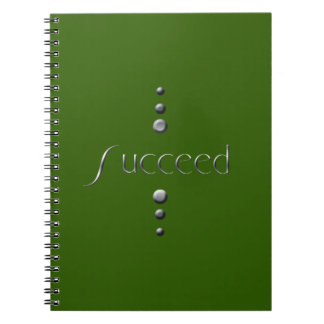 3 Dot Silver Block Succeed & Green Background Spiral Notebook