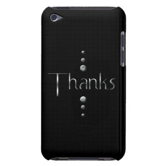 3 Dot Silver Block Thanks & Black Background Barely There iPod Covers