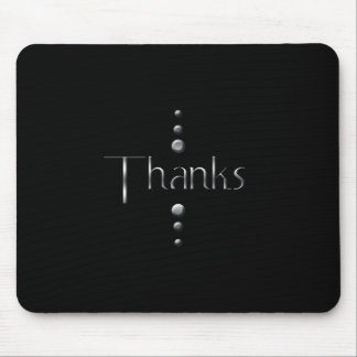 3 Dot Silver Block Thanks & Black Background Mouse Pad