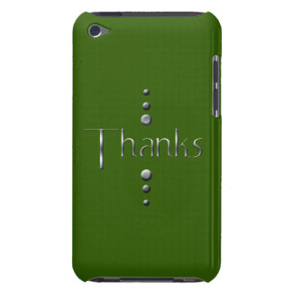 3 Dot Silver Block Thanks & Green Background Barely There iPod Case