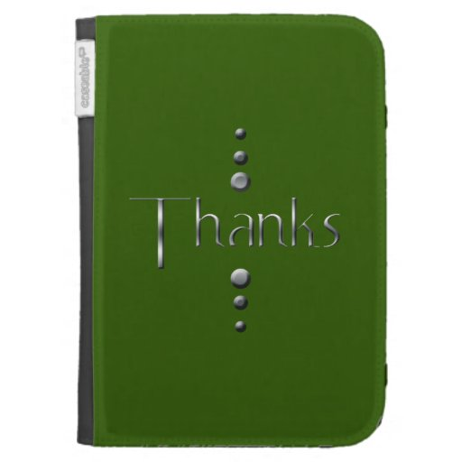 3 Dot Silver Block Thanks & Green Background Kindle Keyboard Covers