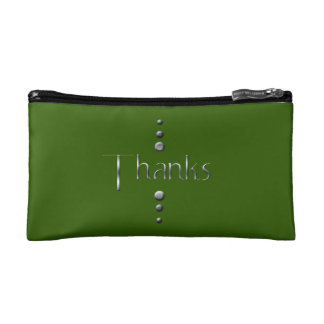 3 Dot Silver Block Thanks & Green Background Cosmetic Bag