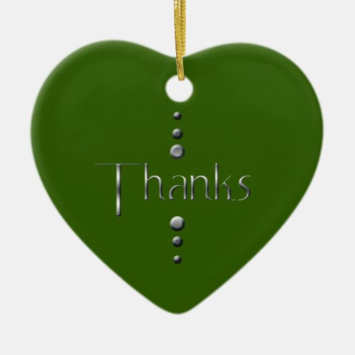 3 Dot Silver Block Thanks & Green Background Double-Sided Heart Ceramic Christmas Ornament