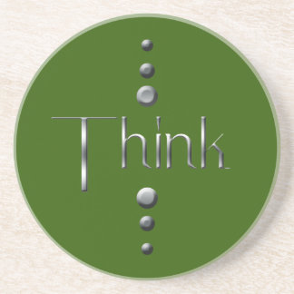 3 Dot Silver Block Think & Green Background Drink Coaster